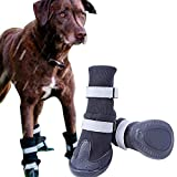 Non-slip Large Big Dog Sport Shoes Winter Waterproof Pet Dog Boots For Pitbull Golden Retriever (XL(3.2''3.5''), Black)