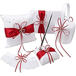 OurWarm 1 Wedding Guest Book + 1 Pen Set + 1 Flower Girl Basket + 1 Ring Bearer Pillow + 1 Garter White Cover, Decor Red Ribbon Bowknot Double Heart Diamante Rhinestone Buckle Wedding Party Favor