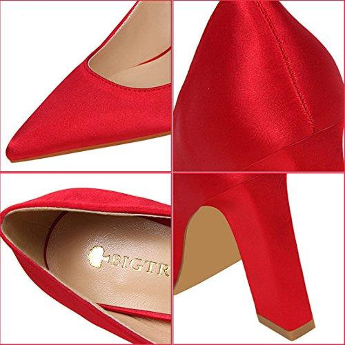 Slip On Classico Yiblbox Dress Tacco Tessuto Colori Multi Con Red Alto Wedding Block Donna Scarpe Pumps Da Party Chunky Toe w5XqrSIxq