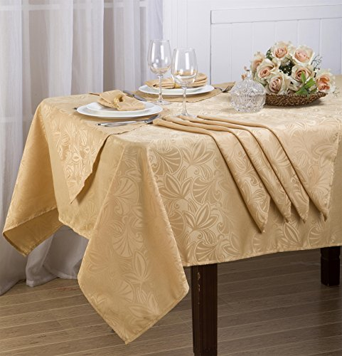 Royal Bedding Elaine Table Cloth Set, Luxury and Elegant Table Cloth Set with Napkins, Top Dinner Kitchen Table Cover, 60 x 108 Inches, Gold