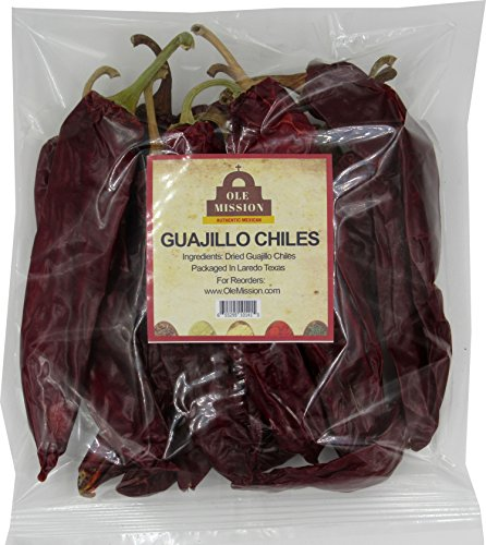 Guajillo Chiles Peppers 4 oz Bag, Great For Cooking Mexican Chilli Sauce, Chili Paste, Red Salsa, Tamales, Enchiladas, Mole With Sweet Heat And All Mexican Recipes by Ole Mission ()