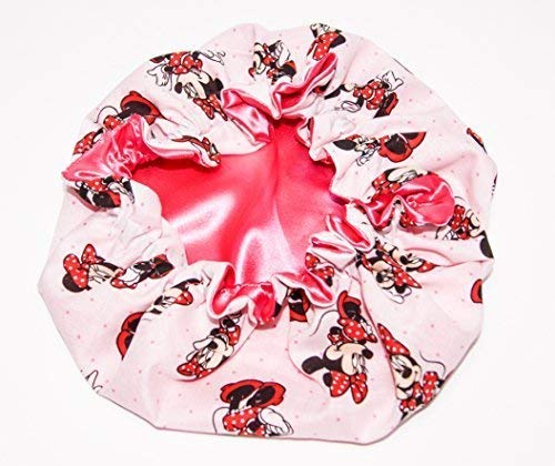 HANDCRAFTED SHOCKING PINK Reversible Kids and toddlers SATIN BONNETs are lined with DISNEY MINNIE MOUSE Fabric (MADE IN USA) (KIDS MINNIE MOUSE, SHOCKING PINK)