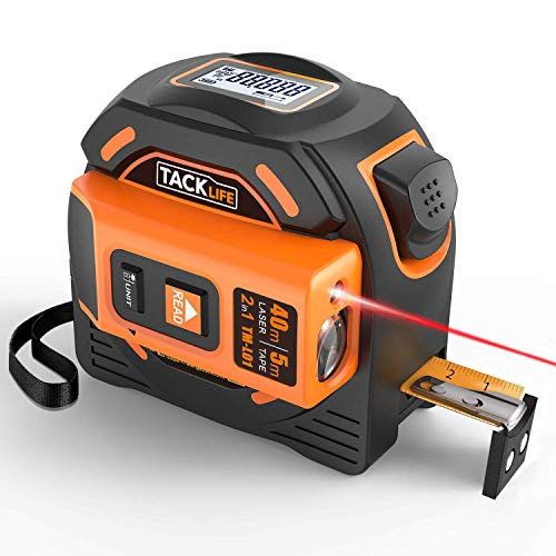 Laser Tape Measure 2-in-1, Laser Measure 131 Ft, Tape Measure 16 Ft Metric and Inches with LCD Digital Display, Movable Magnetic Hook, Screwdriver, Nylon Coating for DIY, Construction - TM-L01 (Best Laser Tape Measure)