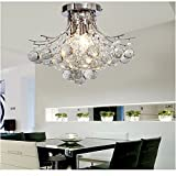 ALFRED Chrome Finish Crystal Chandelier with 3 lights, Mini Style, Flush Mount,Ceiling Light Fixture, for Study Room/Office, Dining Room, Bedroom, Living Room