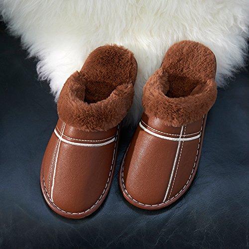 LaxBa Lhiver au chaud, lhiver Chaussons Chaussons moelleux Accueil chaleureux en hiver, chaussures antiglisse Chambre Chaussons Brown44-45 (adaptée à 43-44 pieds de lusure)
