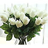 10 pcs New Beautiful Real touch rose bud latex artificial flower for Home wedding party Living Room Decoration bouquet floral arrangement christmas gift (white) by fatcolor