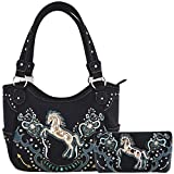Western Style Horse Laser Cut Totes Purse Concealed Carry Handbag Women Country Shoulder Bag Wallet Set (Black Set)