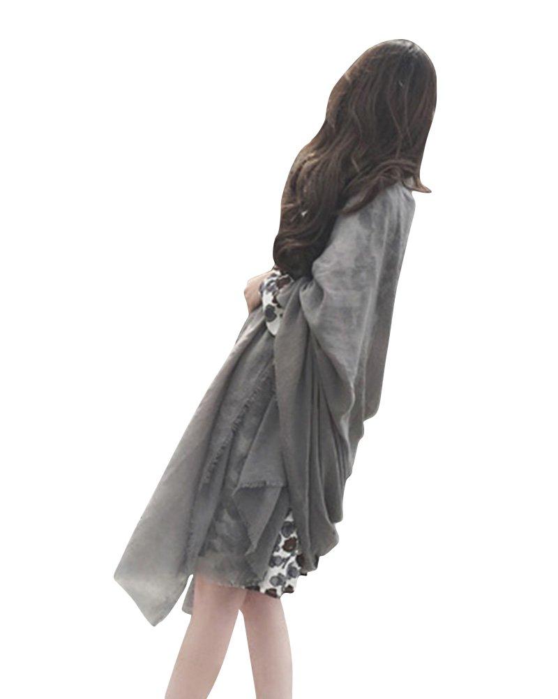 SaiDeng Sciarpa Di Cotone Morbida Silk Quadrato Stole Scialle Moda Colore Solido Per Donna Grigio Sc...