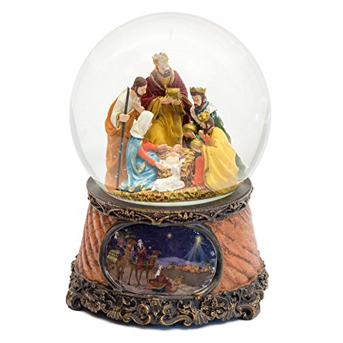 Snowglobe Nativity Scene (Three Kings Nativity Scene 6 Inch Musical Glitter Dome Plays Tune Little Drummer Boy)