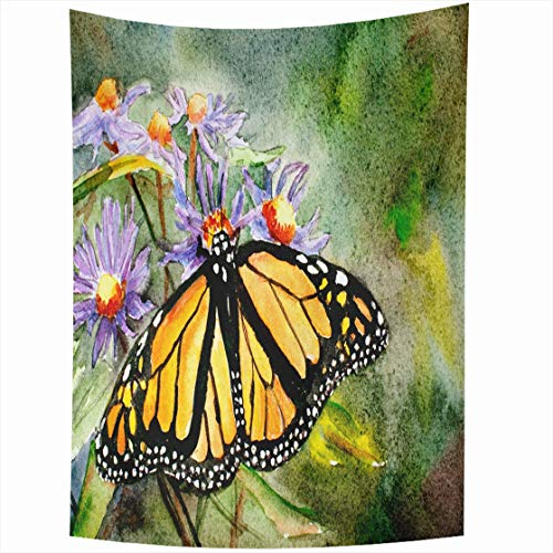 Ahawoso Tapestry Wall Hanging 50x60 Ink Orange Black Original Watercolor Painting Monarch Butterfly Wildlife Green Blooming Bright Cosmos Home Decor Tapestries Decorative Bedroom Living Room Dorm