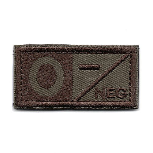 Tactical POS NEG Blood Type Hook and Look Patch A B AB O Type (Brown O-)