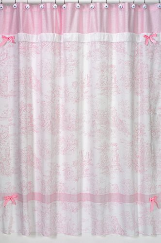 Sweet Jojo Designs Pink French Toile Kids Bathroom Fabric Bath Shower Curtain