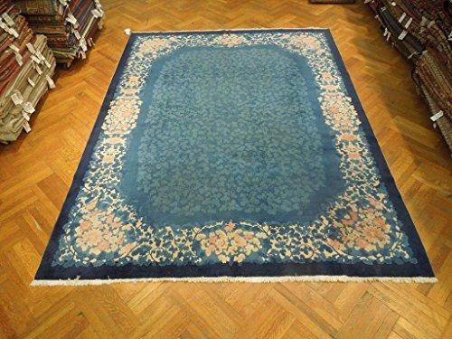 Harooni 9x11 Antique Art Deco Chinese Rug Blue Nickle China Old Estate Carpet