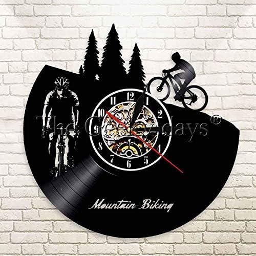 BFMBCHDJ Bicicleta de montaña Reloj de Pared de Vinilo Diseño Moderno Ciclismo Bi Sport Reloj de Vinilo Reloj de Pared Decoración para el hogar Regalos para Motociclistas con LED 12 Pulgadas: Amazon.es: