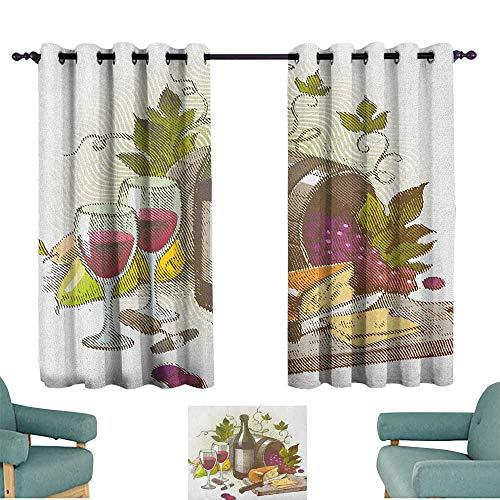 "Wine Breathable Curtain Vintage Style Composition with Wine and Cheese Fruits Gourmet Taste Beverage and Food Home Garden Bedroom Outdoor Indoor Wall Decorations 55"" Wx63 L Multicolor from WinfreyDecor"
