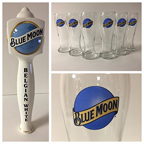 Blue Moon Beer Tap Handle (Blue Moon Brewing Co. Draft Kit - 6 16oz Glasses - 1 Tap)