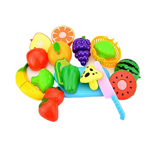 Candice's Sweety 12pcs Play Food - Includes 9 Toy Vegetables Fruit Cutting Toy Set for Kids with Toy Grocery Basket Knife Chopping Board for Pretend Role Play