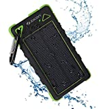 8000 mah charger - Solar Power Bank, ZiKON High Capacity Waterproof Portable 8000mAh Charger, Dual USB Solar Powered Battery Charger for iPhones, iPads, Samsung, Tablets, Cameras. Dustproof & Shockproof (Green)