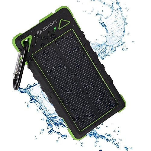Solar Power Bank, ZiKON High Capacity Waterproof Portable 8000mAh Charger, Dual USB Solar Powered Battery Charger for iPhones, iPads, Samsung, Tablets, Cameras. Dustproof & Shockproof (Green)