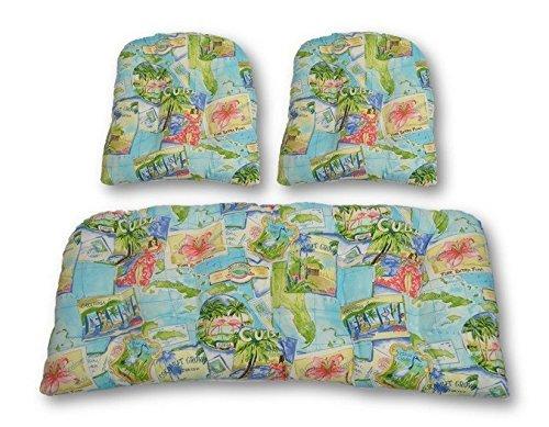 (RSH Decor 3 Piece Wicker Cushion Set - Indoor/Outdoor Cushions for Wicker Loveseat Settee Cushion & 2 Chair Cushions ~ Blue Tropical Greetings Postcard Vacation Print)