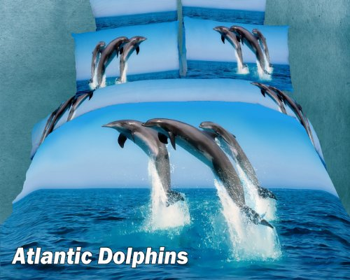 Atlantic Dolphins, Animal Themed Bedding, 6 PCs Full or Queen Size Egyptian Cotton Duvet Cover Set in Gift Box by Dolce Mela Fine Linens Bed in a Box, Bridal Shower, Birthday, Housewarming or Anniversary Gift Idea, DM425Q by Dolce Mela