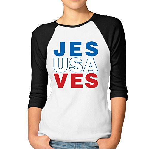 Christian Womens Raglan Sleeve (Jesus USA Saves (John 3:16) Women 3/4 Sleeve Baseball Raglan T Shirts)