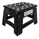 ORGALIF OR0013 Heavy Duty Folding Step Stool with Anti Slip Dots and Strong Support Ladder for Adults and Kids, Black