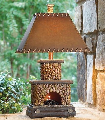 Stone Fireplace Lamp With Night Light Amazon Com