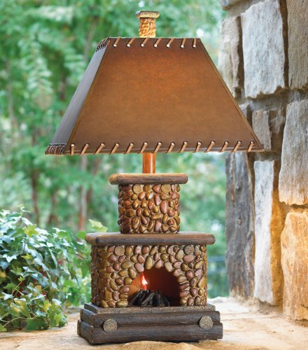 Stone Fireplace Lamp with Night Light [Misc.] Mission Stone Fireplace