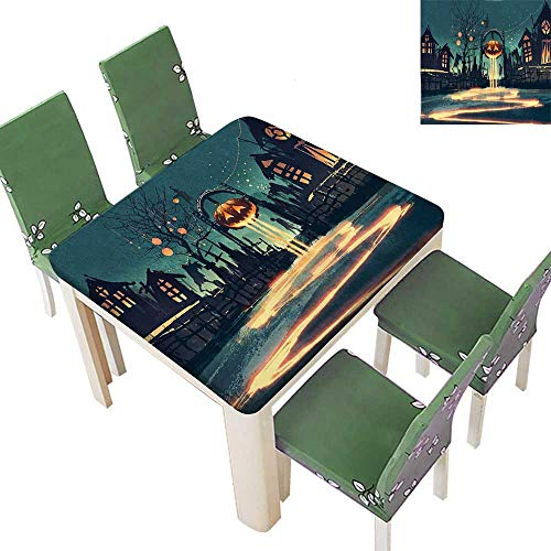Printsonne Polyester House Halloween Theme Night Pumpkin and Haunted House Ghost Town Artful Teal Spillproof Fabric Tablecloth 50 x 50 Inch (Elastic Edge) ()