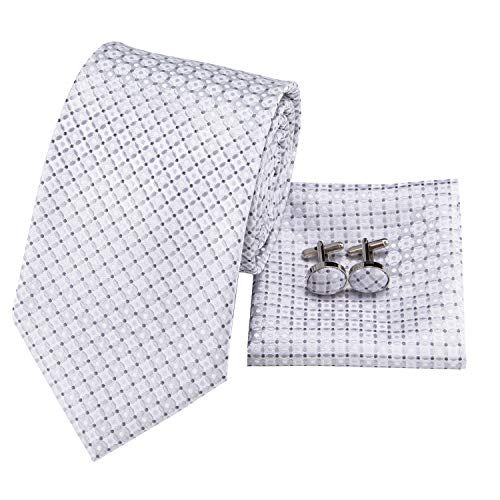 Hi-Tie Mens White Silver Plaid Chceks Tie Pocket Square and Cufflinks Tie Set Gift Box
