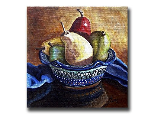 Bowl of Pears Polish Pottery Home Decor Still Life Kitchen Gallery Wall Art Print Giclee, mat option (Life Country Stoneware)