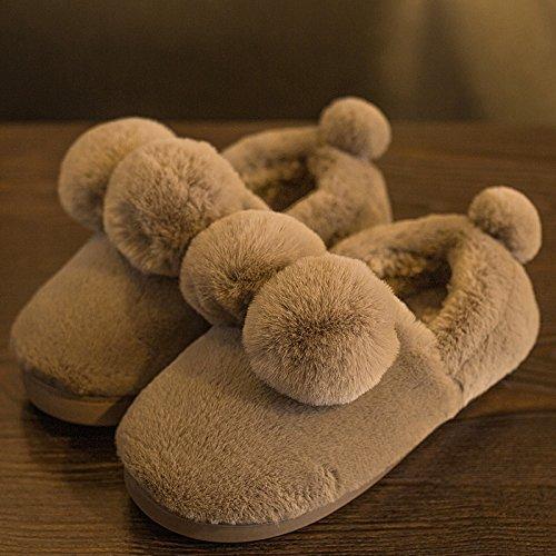 LaxBa Femmes Hommes Chaussures Slipper antiglisse intérieur Brown 43/44