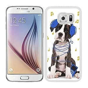 Funda carcasa TPU (Gel) para Samsung Galaxy S6 perro con auriculares azul marino borde blanco