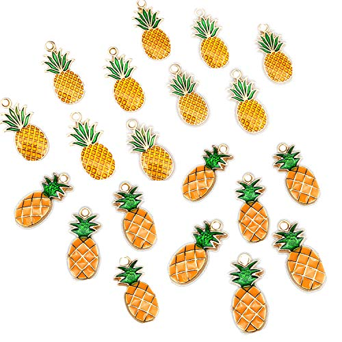 20pcs Cute Pineapple Drop Oil Pendants Beads Enamel Sequins Dangle Gold Plated Dainty Ornament Wine Glass Charms for Necklace Bracelet Ankle Earring Keychain Jewelry DIY Making