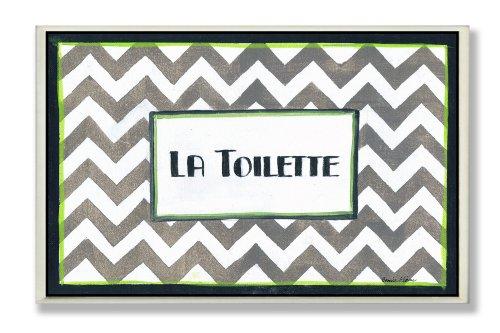 Toilette Wall La Plaque - The Stupell Home Decor Collection La Toilette Tan and White Chevron Bathroom Wall Plaque