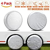 Amfor Set of 4 Tire Covers,Waterproof Aluminum Film Tire Sun Protectors,Fits 27'' to 29'' Tire Diameters,Weatherproof Tire Protectors