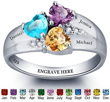 JewelOra Personalized Simulated Birthstone Mom Jewelry Heart Names Ring 925 Sterling Silver family Ring