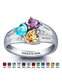 JewelOra Personalised Simulated Birthstone Mom Jewellery Heart Names Ring 925 Sterling Silver family Ring