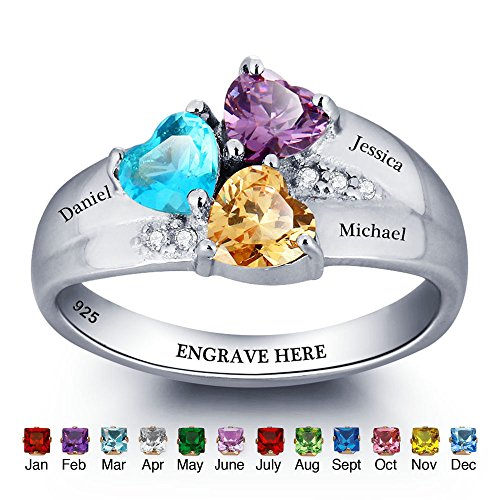 Sterling Silver Birthstone Heart Ring (JewelOra Personalized Simulated Birthstone Mom Jewelry Heart Names Ring 925 Sterling Silver family Ring Size)