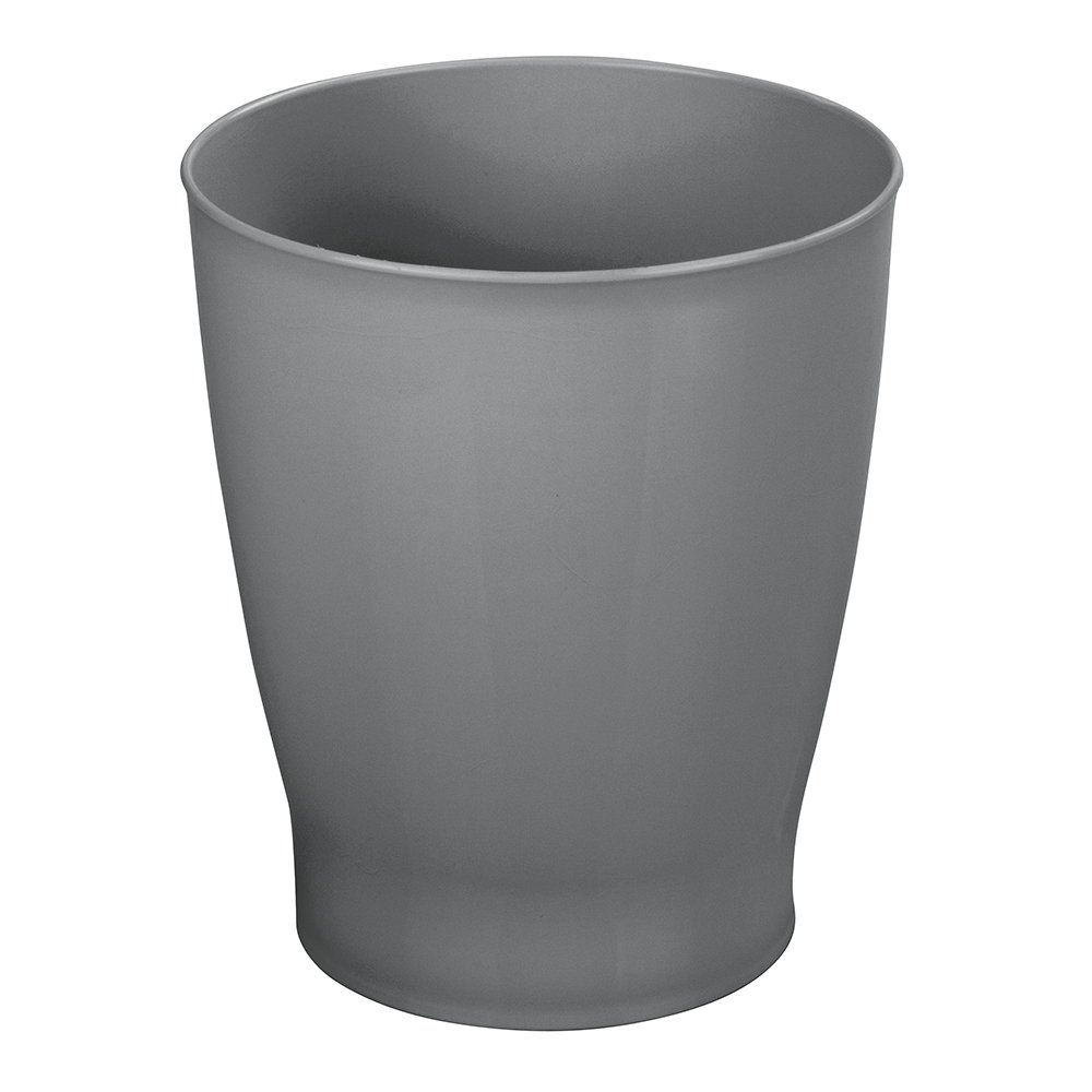 mDesign Slim Round Plastic Small Trash Can Wastebasket, Garbage Container Bin for Bathrooms, Powder Rooms, Kitchens, Home Offices, Kids Rooms - Slate