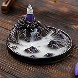 Ceramic Censer Dragon Smoke Backflow Incense Burner Holder + 10 Cones