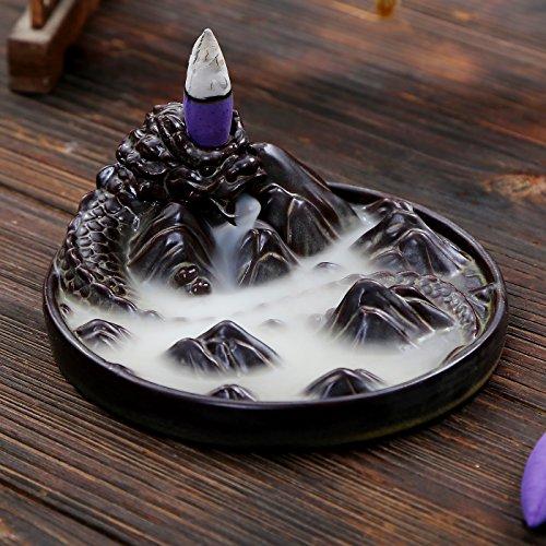 Dragon Holder (ShuangChuang Ceramic Censer Dragon Smoke Backflow Incense Burner Holder + 10 Cones)