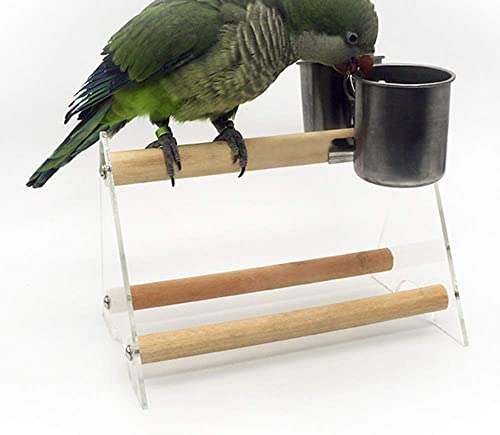Gatycallaty Bird Parrot Feeding Cups Cage Hanging Bowl Stainless Steel Perches Play Stand with Clamp Bird Coop Cups Seed Water Food Dish Feeder Bowl Birdcage