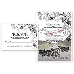 Motorcycle Bike Wedding Invitations & Response Cards Bridal Custom