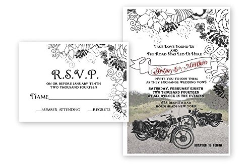Motorcycle Bike Wedding Invitations & Response Cards Bridal Custom ()