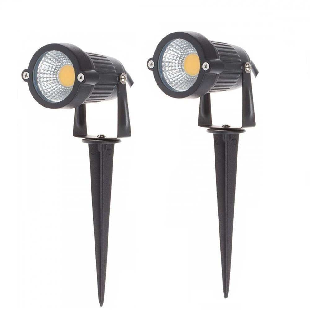 Alotm 2 Pack High Power Outdoor Decorative Lamp Lighting 3W COB LED Landscape Driveway Stairs Garden Wall Yard Path Light Waterproof Spotlight DC 12V with Spiked Stand (Warm White)