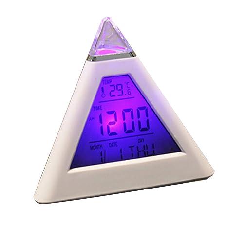 Rekkles 7 Colores LED Reloj de Tabla de la luz, Reloj Digital de Escritorio de