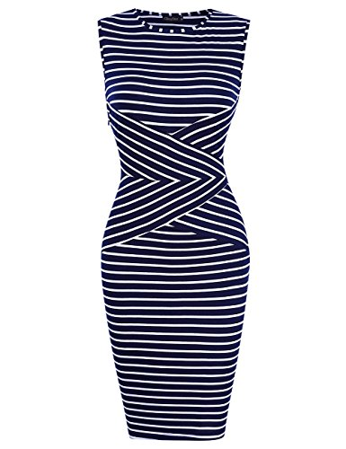 GlorySunshine Women's Long Sleeve Striped Print Wear to Work Business Pencil Dress Cocktail Party Dresses (S, Blue3) (Cocktail Wear Party)