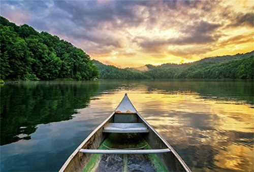 CSFOTO 7x5ft Background for Canoe on River Sunset Photography Backdrop Dusk Landscape Scene Peaceful Water Fishing Boat Leisurely Holiday Vacation Travel Tour Photo Studio Props Polyester Wallpaper]()
